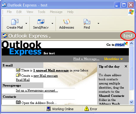 how to change identity in outlook 2011 mac